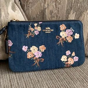 Coach double zip denim wristlet